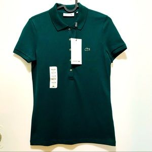 Lacoste slim fit green women's polo shirt size 34